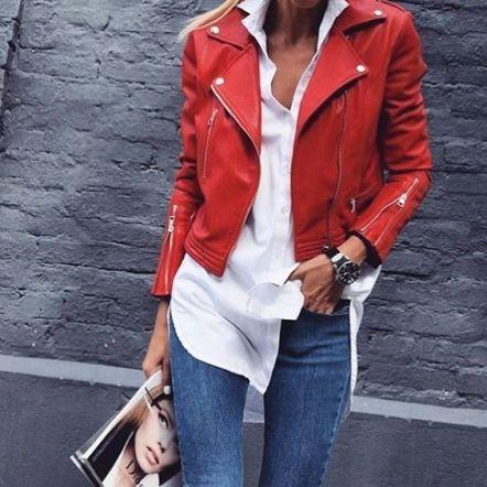piros műbőr dzseki