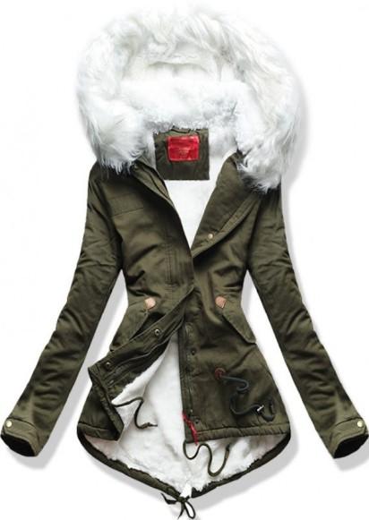 zöld kapucnis parka fehér szőrmével őszi átmeneti kabát