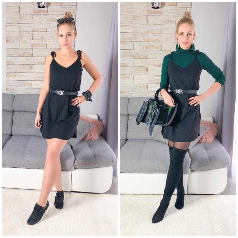 fekete megkötős H&M ruha