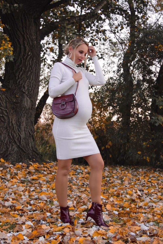 2019 őszi divat kötött ruha bordó bokacsizma táska
