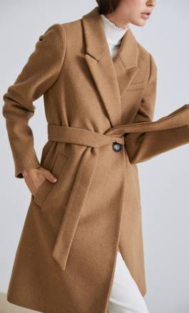 2019 télikabát divat bézs szövetkabát