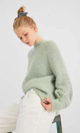 2019 divat menta szín kötött pulcsi