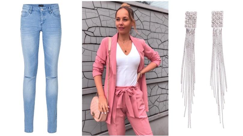 bonprix pasztel rózsaszín nadrág blézer kosztüm
