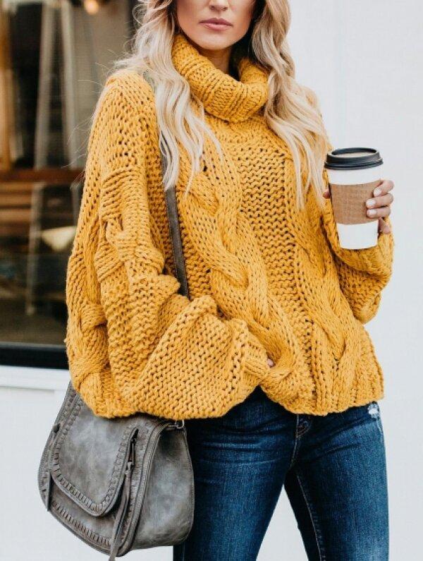 2020 oversize kötött pulóver