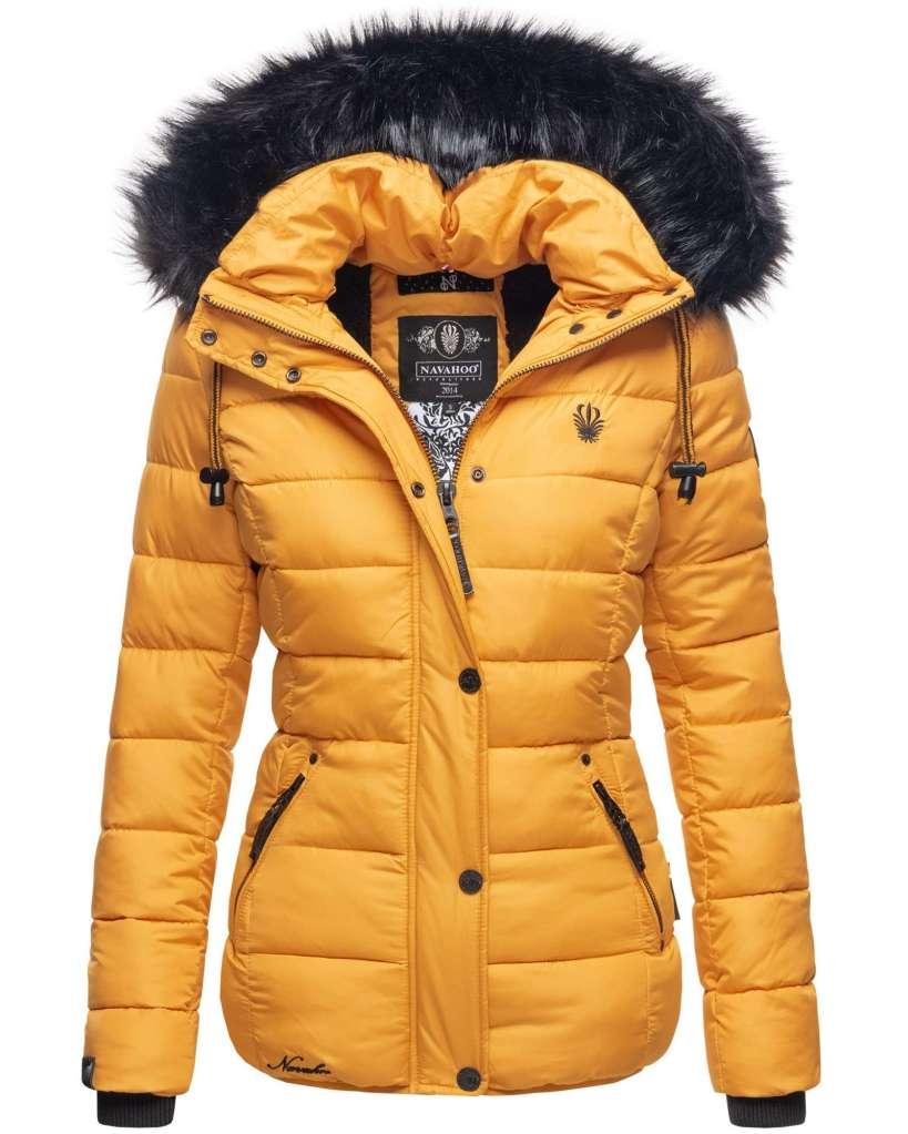 sárga női szőrmés kabát