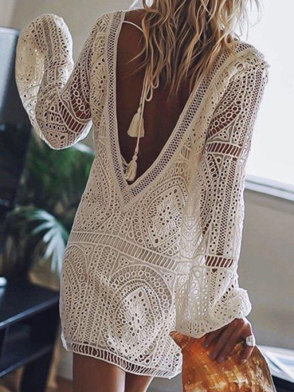 fehér horgolt strandruha