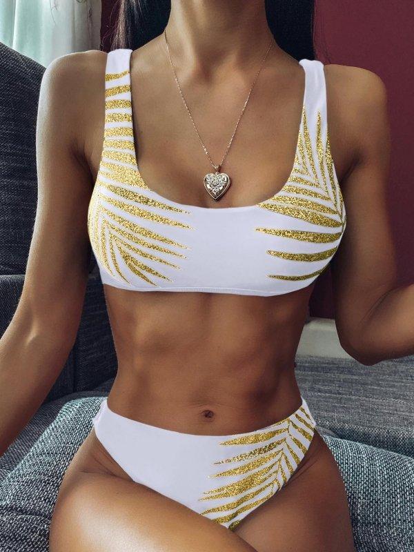 trópusi pálmalevél mintás bikini
