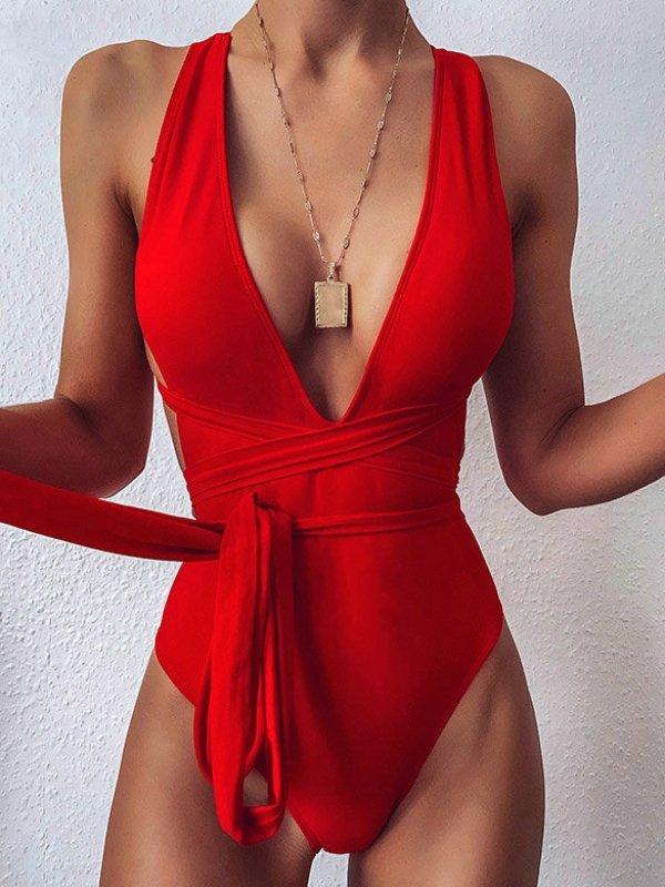piros nőies egyberészes fürdőruha