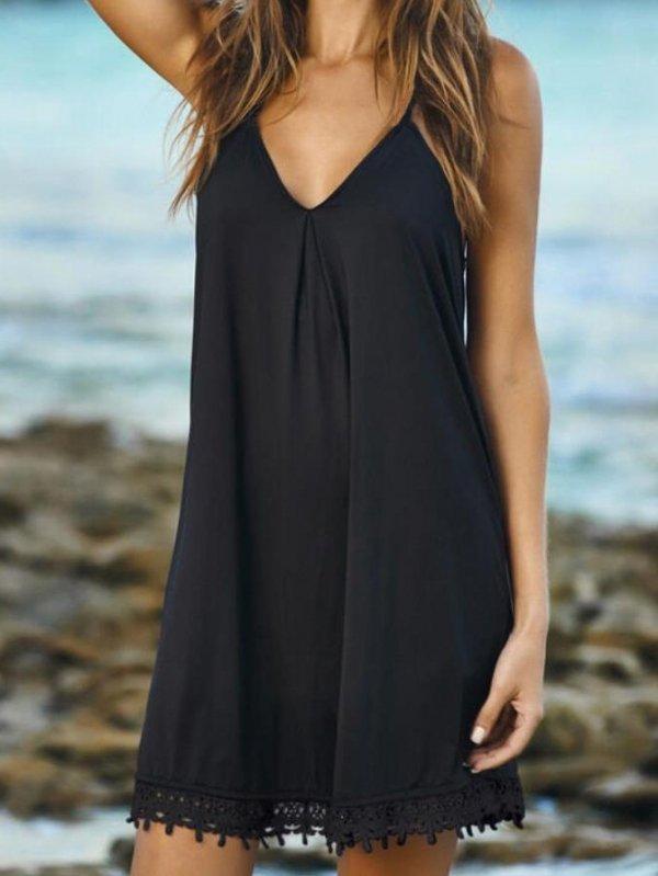 fekete lenge nyáriruha, strandruha